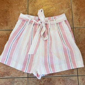 Parker striped linen high waisted shorts 6